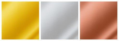 Металлические текстуры предпосылки золота, серебра, бронзы, алюминий, Стоковое Фото