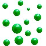 Металлические шарики зеленого цвета 3D вектор изображения иллюстрации элемента конструкции Стоковые Изображения RF