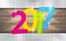 металлический деревянный дизайн Нового Года предпосылки 2017 иллюстрация штока