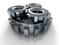 Металлический Cogwheel зацепляет значок на белой предпосылке Стоковая Фотография