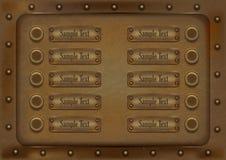 10 металлических знамен предпосылки также вектор иллюстрации притяжки corel иллюстрация вектора