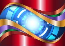Металл и голубой робот глаза цифров резюмируют предпосылку Стоковые Изображения RF