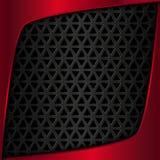 металлопластинчатый красный цвет металл предпосылки черный Metal решетка Геометрическая картина с треугольниками Стоковые Изображения RF