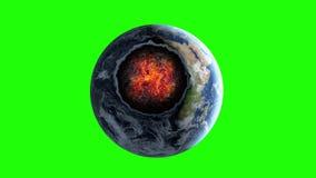 Метеорит, астероидное столкновение с землей планеты Пламенистый кратер apish Зеленый отснятый видеоматериал экрана иллюстрация вектора