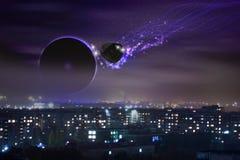 Метеорит летает к земле стоковое фото rf