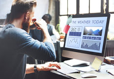 Метеорология Te прогнозирования климата информационного сообщения погодных условий Стоковое Изображение RF