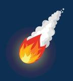 Метеор летания Файрбол с дымом Комета летания в небе иллюстрация вектора