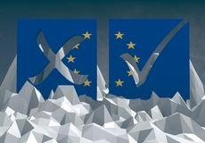 Метка голосования Европейского союза на низком поли surfafe иллюстрация штока
