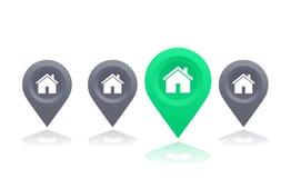Метка дома и положения, иллюстрация вектора иллюстрация вектора
