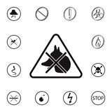 метка запрещена значком животных Детальный комплект значков предупредительных знаков Наградной качественный знак графического диз иллюстрация штока