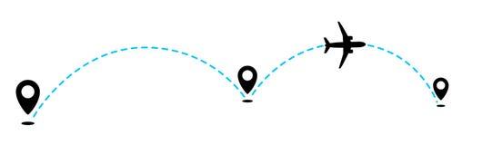 Метка летая самолета и geolocation для передвижного app иллюстрация вектора