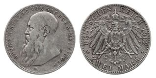Метка 2 1902 серебряной монеты 2 Германии немецкая Саксонии Meiningen стоковое изображение rf