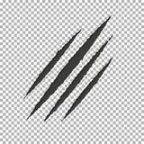 Метка царапины когтя разрыва изверга Бумага пролома Llion изолированная на прозрачной предпосылке Чернота царапает sc иллюстрация вектора