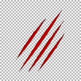 Метка царапины когтя разрыва изверга Бумага пролома Llion изолированная на прозрачной предпосылке Красный цвет царапает груды бесплатная иллюстрация