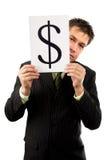 метка человека удержания в долларах дела Стоковая Фотография RF