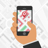 Метка GPS телефона на предпосылке карты бесплатная иллюстрация