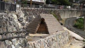 Метод ` s горячего источника Beppu Myoban-onsen для производить соли для принятия ванны yunohana естественные, japan  август 20 видеоматериал