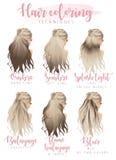 Методы расцветки волос иллюстрация штока