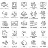 Методы современной базы данных значков контура обрабатывая данных Стоковые Фото