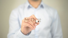 Метрическая система мер, сочинительство человека на прозрачном экране Стоковые Фотографии RF