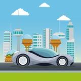Метрополия города красочной сцены футуристическая с автомобилем спорта серым современным Стоковое Изображение