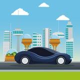 Метрополия города красочной сцены футуристическая с автомобилем спорта синим современным Стоковая Фотография