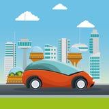 Метрополия города красочной сцены футуристическая с малым оранжевым кораблем автомобиля Стоковые Изображения RF