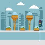 Метрополия города красочной сцены футуристическая с светофором в улице Стоковая Фотография RF