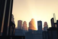 метрополия 3d представляет заход солнца восхода солнца skyscrapesrs Стоковое фото RF