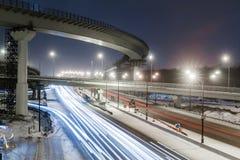 Метрополия перехода, движение и расплывчатые света стоковая фотография rf