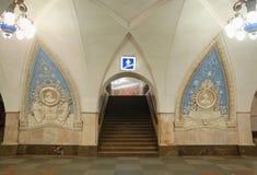Метро Москвы, станция Taganskaya (линия круга) стоковое изображение