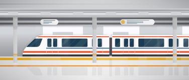 Метро, подземная платформа с современным поездом Горизонтальная красочная иллюстрация вектора в плоском стиле Стоковые Изображения