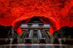 Метро Стокгольма или Centrum Solna станции tunnelbana с li огня Стоковые Фото