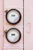 Метры ваттчаса электропитания умной решетки жилые цифровые Стоковое Изображение RF
