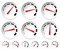 Метры, шкалы с красным указателем Спидометр, манометр, давление иллюстрация штока