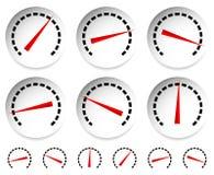 Метры, шкалы с красным указателем Спидометр, манометр, давление иллюстрация вектора