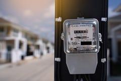 Метр ваттчаса электричества в домашней электронике для пользы в ho стоковое изображение rf