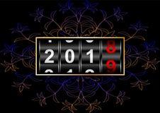 Метр показывает переход 2018 к 2019, с красивой картиной, реалистической иллюстрация штока