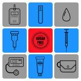 Метр прокладки испытания, капли крови, шприца и глюкозы Диабет Плоские значки и объекты медицинского оборудования Стоковые Фото