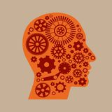 Механизм в голове на светлой предпосылке Стоковое фото RF
