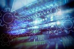 Механизм шестерней, цифровая концепция преобразования, интеграции данных и цифровой технологии стоковые изображения