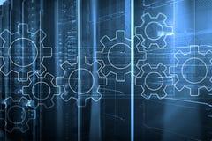 Механизм шестерней, цифровая концепция преобразования, интеграции данных и цифровой технологии стоковые фотографии rf