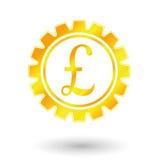 Механизм шестерни золота, знак банка Великобритании Иллюстрация штока