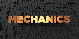 Механики - текст золота на черной предпосылке - 3D представили изображение неизрасходованного запаса королевской власти иллюстрация штока