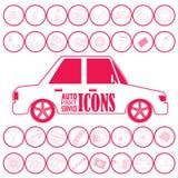Механик автомобиля с плоскими инструментами значков иллюстрация вектора