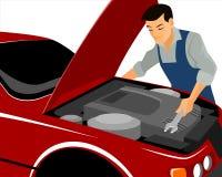 Механик ремонтирует мотор бесплатная иллюстрация