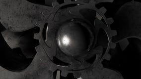 механическая система 3D шестерней во время камеры деятельности на верхней части с альфой 4K иллюстрация вектора