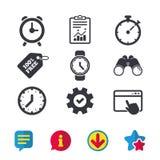 Механически значки времени часов Таймер секундомера Стоковое Изображение