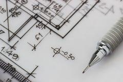 Механически карандаш на чертеже Стоковые Фотографии RF