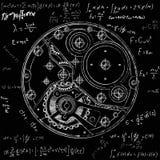 Механически план вахт с шестернями Чертеж внутреннего прибора Его можно использовать как пример гармоничного бесплатная иллюстрация